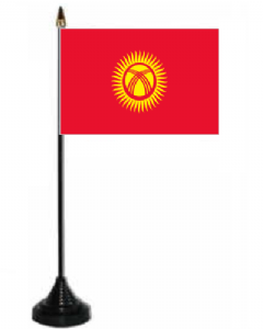Kyrgyzstan Desk / Table Flag with plastic stand and base.